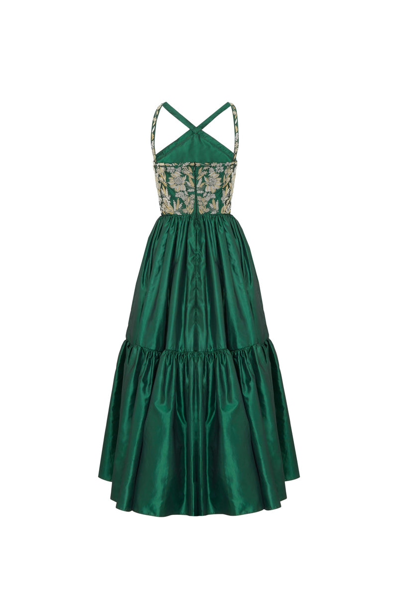 Taffeta Embroidered Maxi Dress