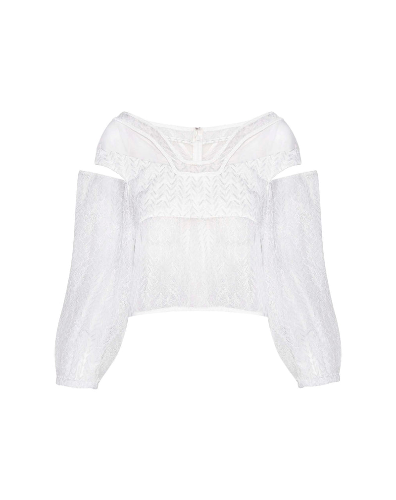 White Zigzag Lace Top