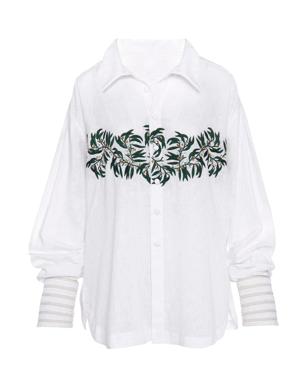 White Embellished Shirt with Braided Cuffs