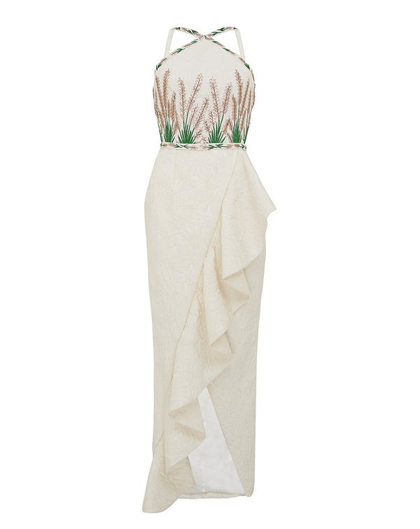 Embroidered Halter Top Gown