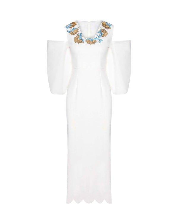 Embellished White Crepe Midi Dress