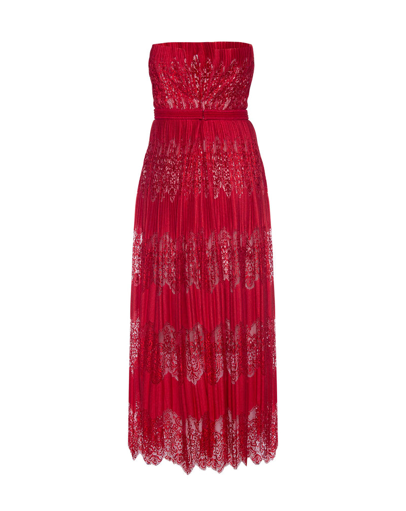 Red Lace Strapless Dress