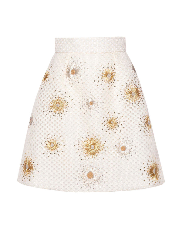 Basket Weave Embellished A-Cut Skirt