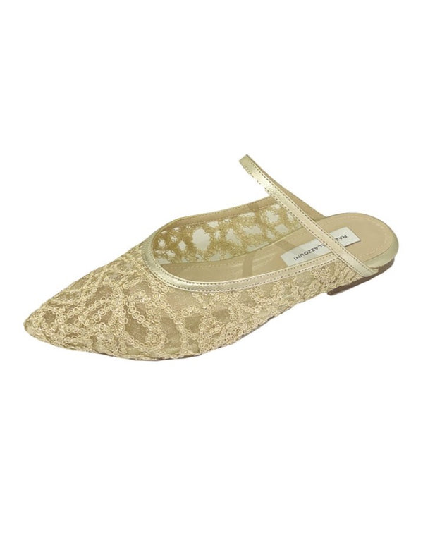 Gold Lace Slippers
