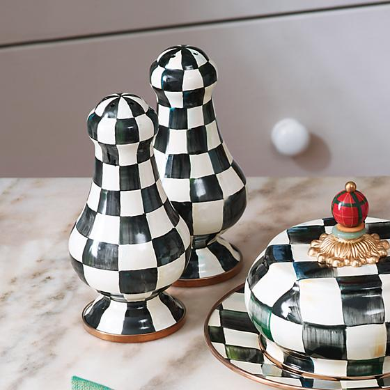 Courtly Check Enamel Large Salt & Peppers Shakers