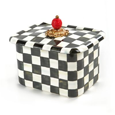 Courtly Check Enamel Recipe Box