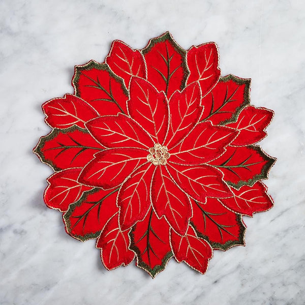 Poinsettia Embroidered Mat