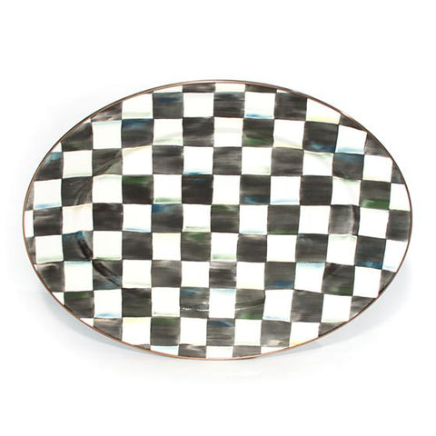 Courtly Check Enamel Oval Platter