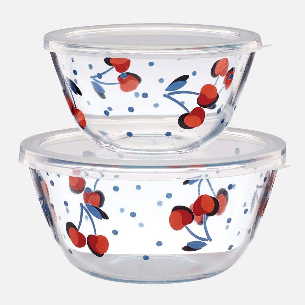 Vintage Cherry Dot Bowl Set