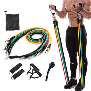 11PCS Pull Rope Resistance Bands Set UP TO 100 Pound Elastic Bands
