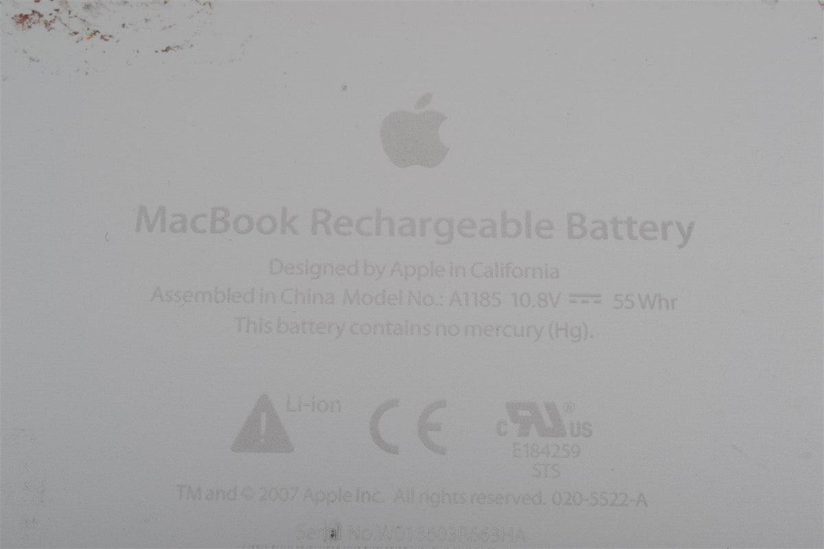 "Used Genuine Apple 55.5 WHr Battery MacBook 13"" Laptop OEM A1185 A1181 MA561"
