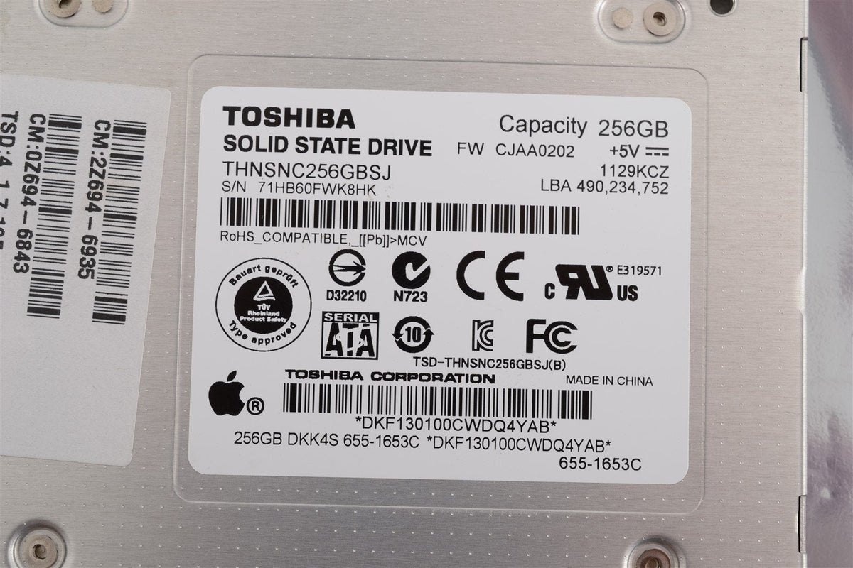 "Apple Toshiba 2.5"" SSD 256GB THNSNC256GBSJ Internal Solid State Drive - 655-1653"