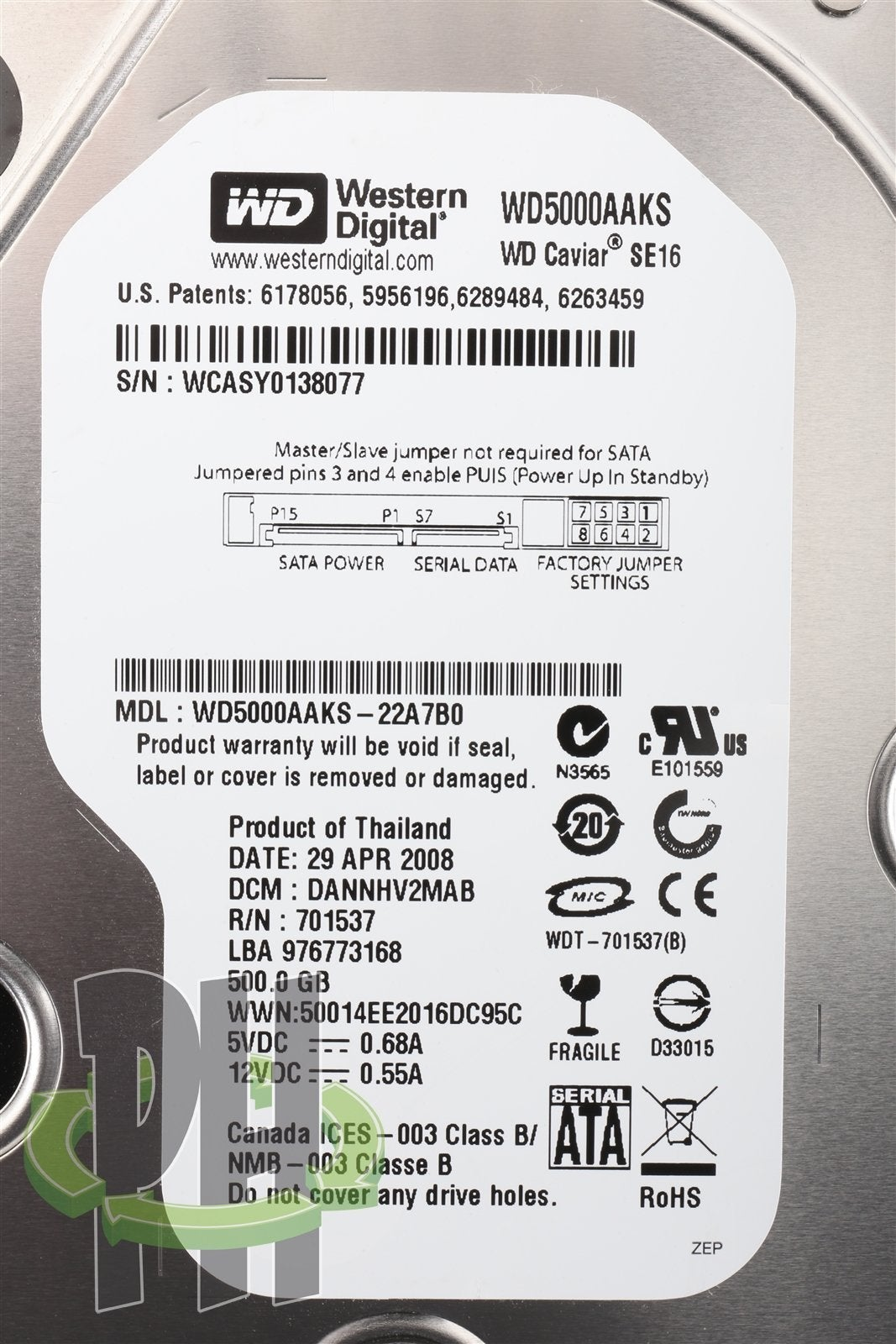 WD5000AAKS 500GB SATA 7200RPM WD Caviar SE16 Formatted for Apple