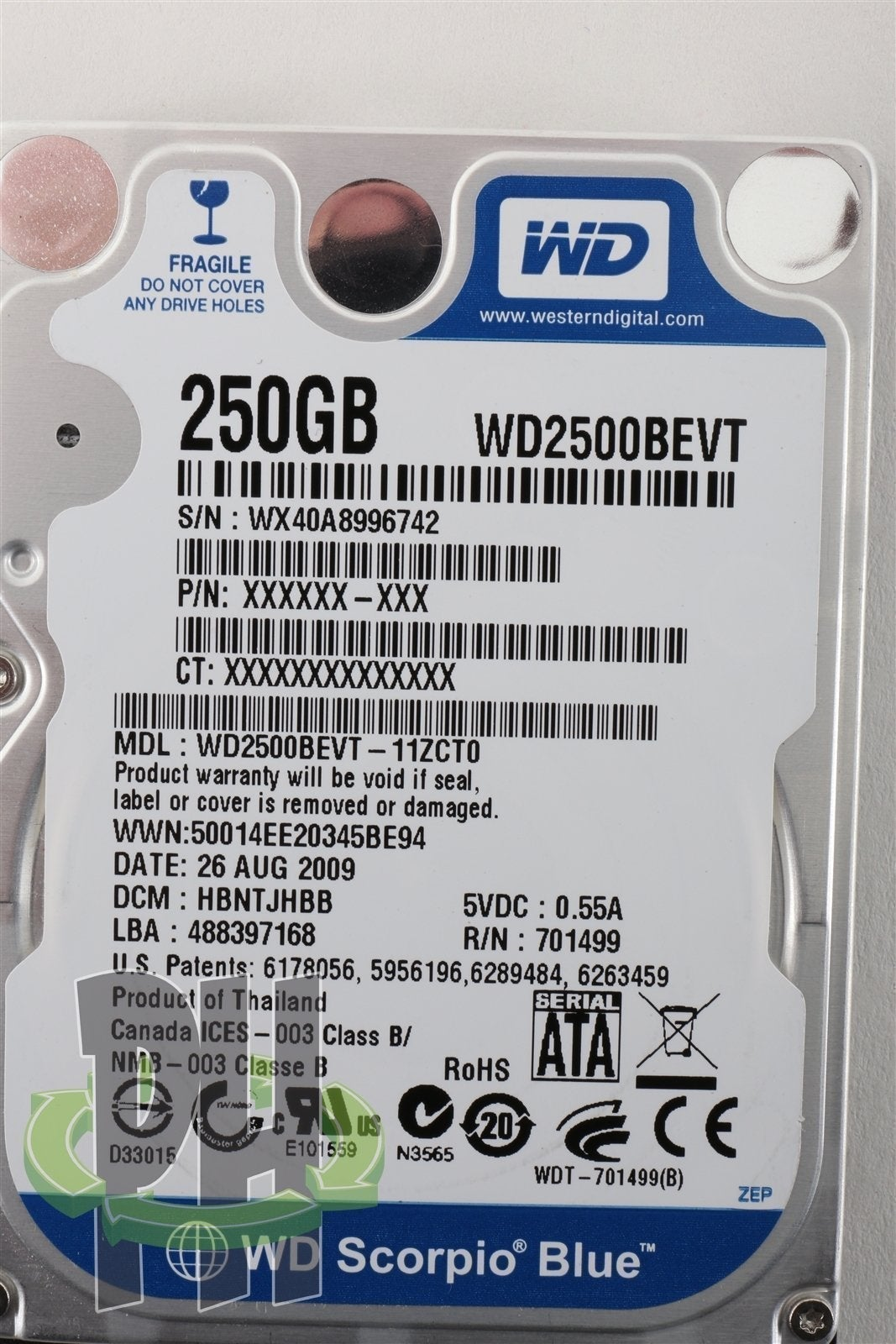 "Western Digital WD Scorpio Blue 2.5"" 250GB 5400 RPM Hard Drive HDD - WD2500BEVT"