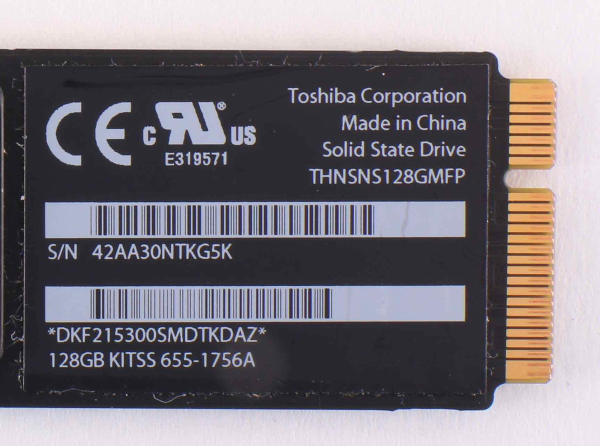 128GB SSD Toshiba THNSNS128DMFP FOR APPLE MACBOOK AIR MID 2012 A1466 655-1756
