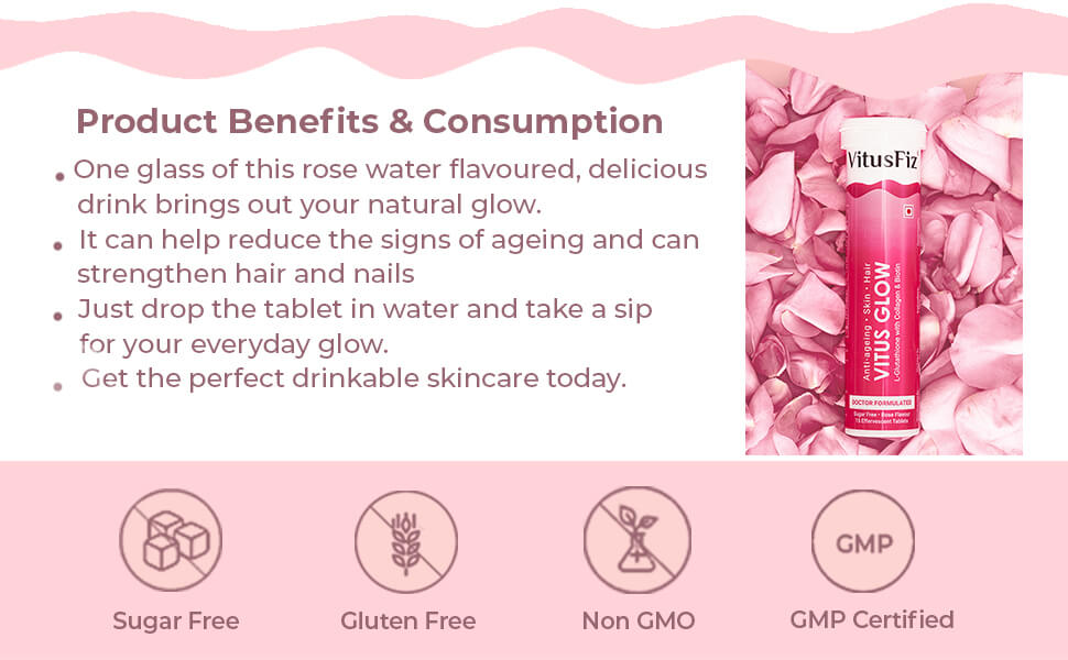 Product Benefits & Consumption One glass of this rose water flavoured, delicious drink brings out your natural glow.