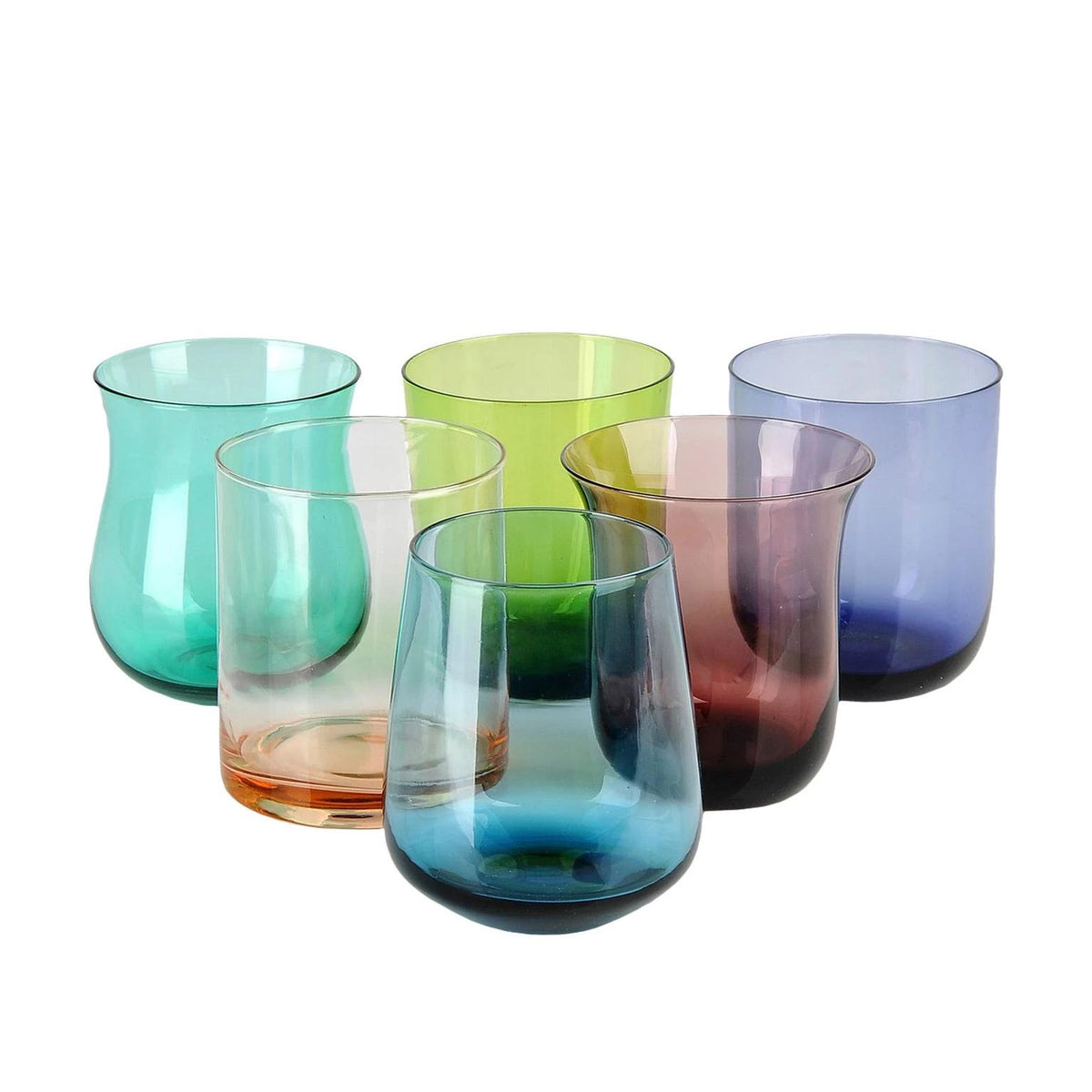 Six glass tumblers assorted shape and colour beautiful designer glassware made in italy