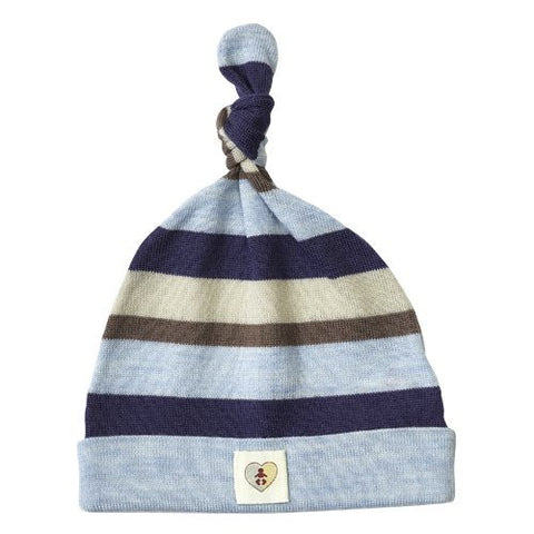 Multi Stripe Merino Beanie - French Navy & Cornflower Blue