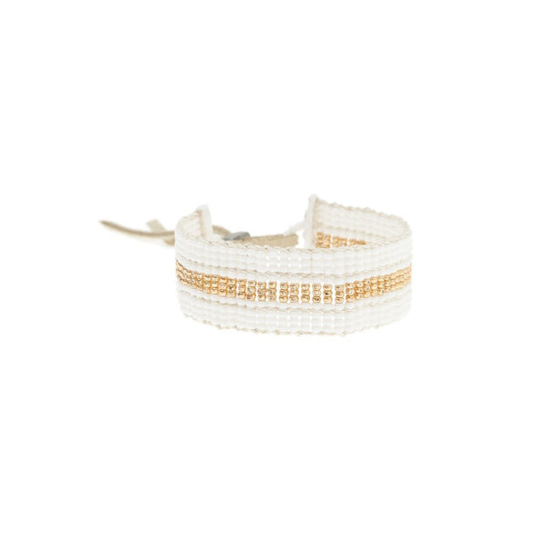 Warrior Bracelet - Narrow Stripe White & Gold