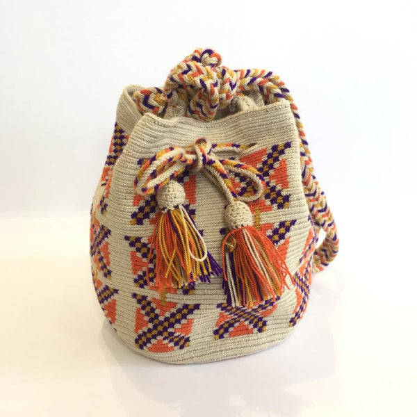 Wayuu Small Bag - Orange, Cream & Purple