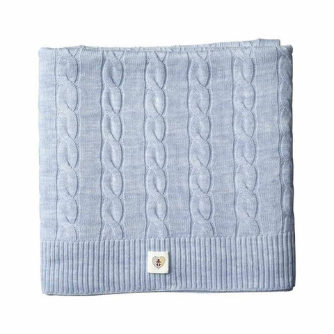 Pure Merino Cable Knit Blanket - Cornflower Blue
