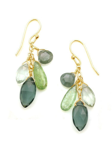 Kyanite, moss aqua, green amethyst, quartz vermeil earrings