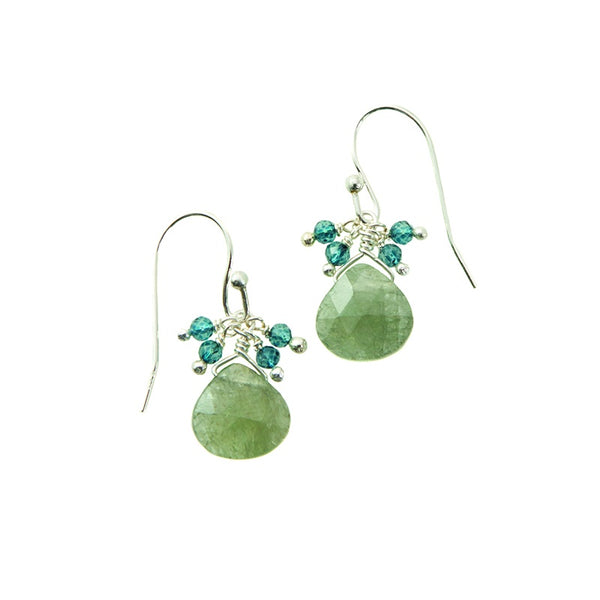 Apatite & Aqua Cluster Silver Earrings