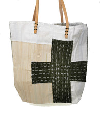 Load image into Gallery viewer, Olive Green Cross Stitch Bag