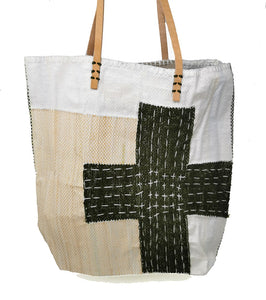 Olive Green Cross Stitch Bag