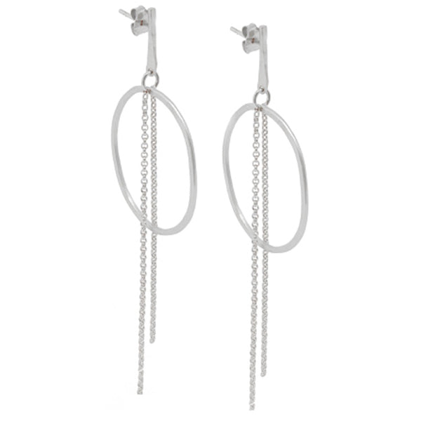 Justine Long Chain Earrings Silver