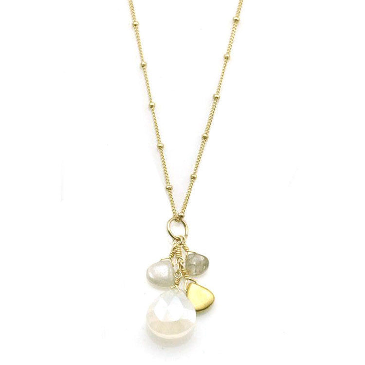 Champagne Quartz and Pearl Chalcedony Vermeil Necklace
