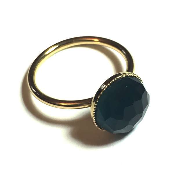 Pom Crystal Ring Dark Blue