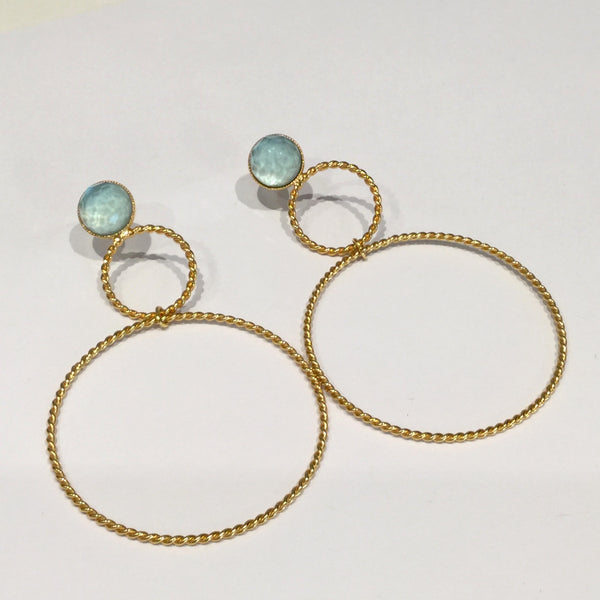 Double Hoop Crystal Earrings Light Blue