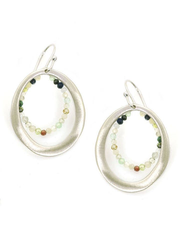 Circle with beads, silver earrings