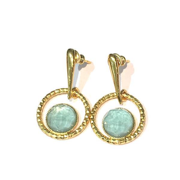 Pom Crystal Circle Earrings Light Blue