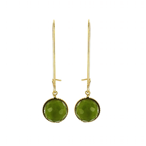 Eva Krystal POM Long Earrings - Olive