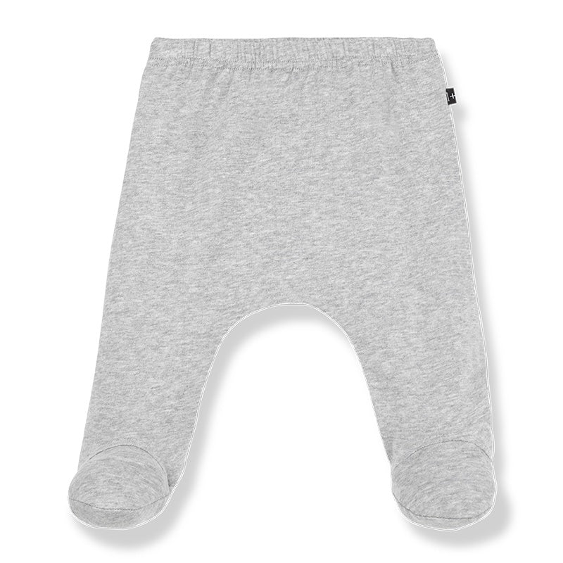 Grey organic cotton leggings for baby with feet