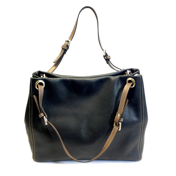 Adria Shoulder Bag Black with Taupe