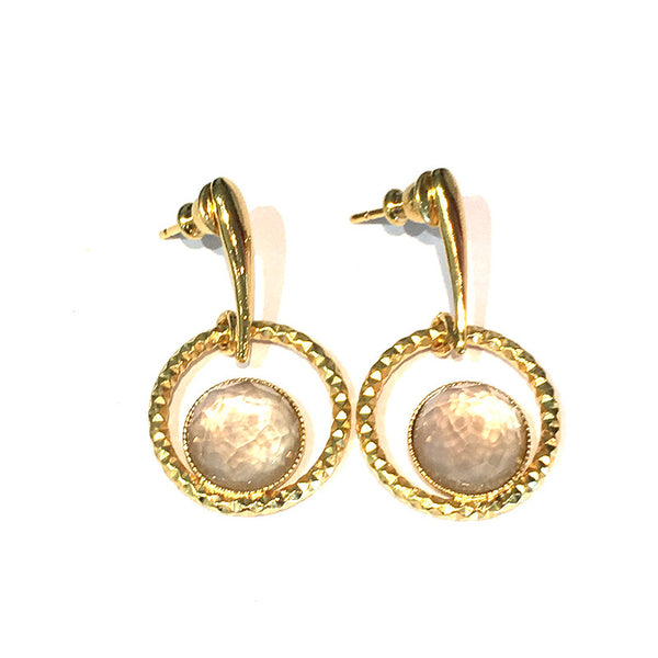 Pom Crystal Circle Earrings Nude