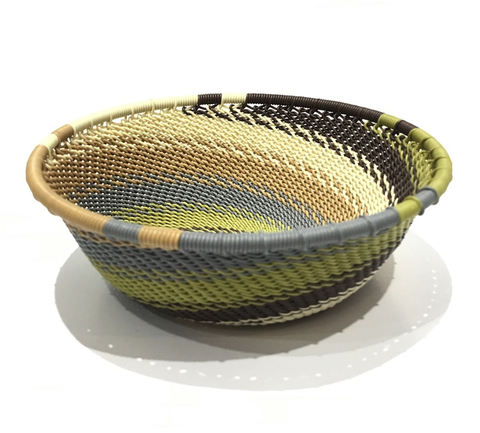 Hand Woven Telephone Wire Medium Basket - Stone