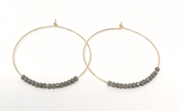 Grey Sabelline Large Hoop Earrings