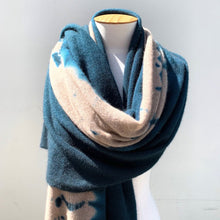 Load image into Gallery viewer, Cashmere Shawl Spruce & Light Coffee