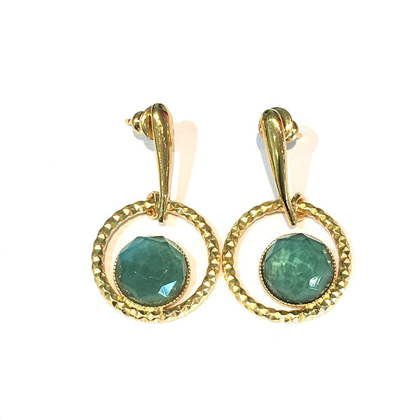 Pom Crystal Circle Earrings Blue Green