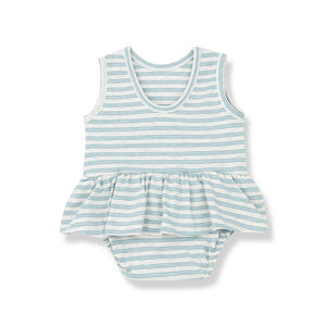 Mint green and white stripe baby dress front view