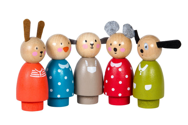 Five Assorted Wooden Characters
