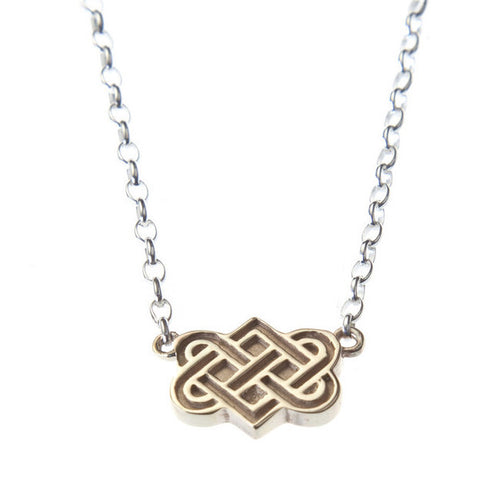 gold tibetan love knot on silver chain necklace