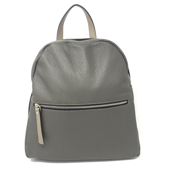 Zipped Leather Backpack Fog with Taupe