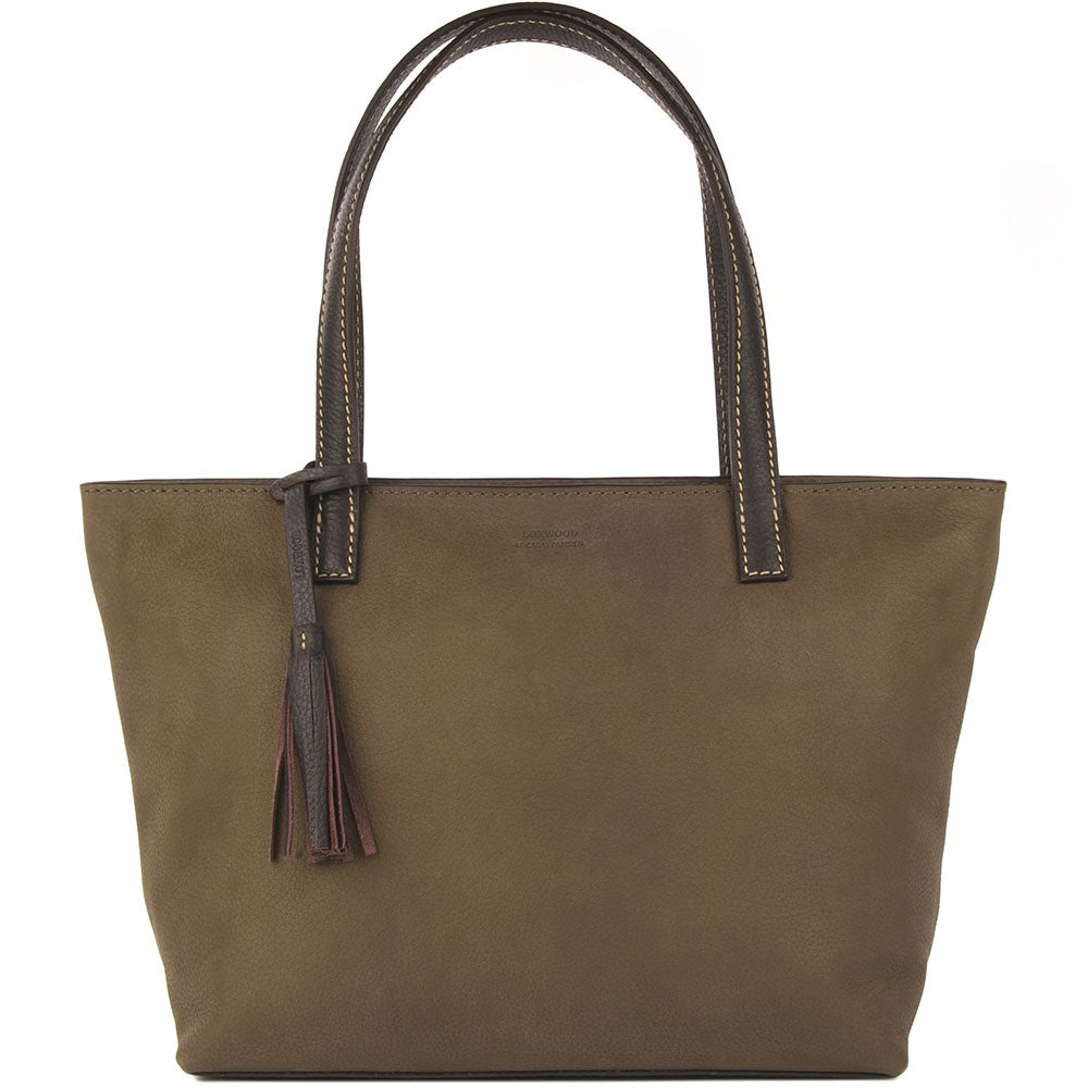 Eden Nubuck Leather Bag Khaki & Chocolate