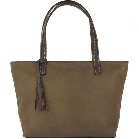 Eden Nubuck Leather Bag - Khaki & Chocolate