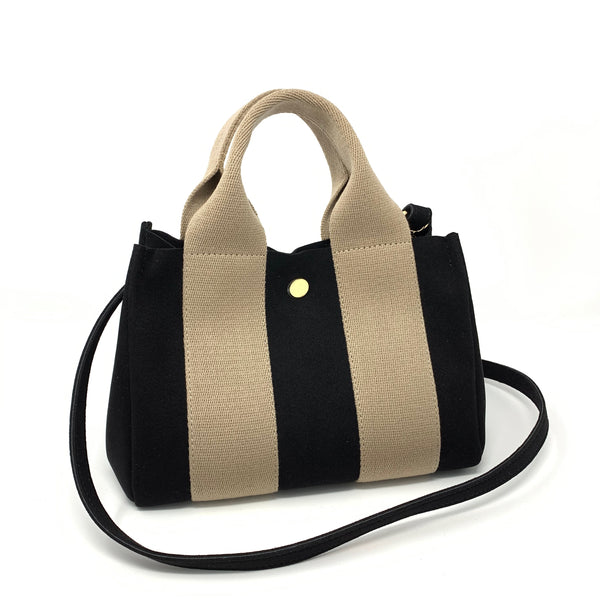 Japanese Suede Bag Black Beige Small